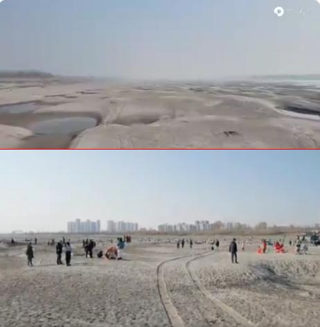 武汉长江河床见底上面可跑汽车