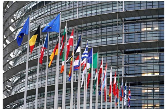 位于法国史特拉斯堡的欧洲议会大楼前的各欧盟成员国国旗